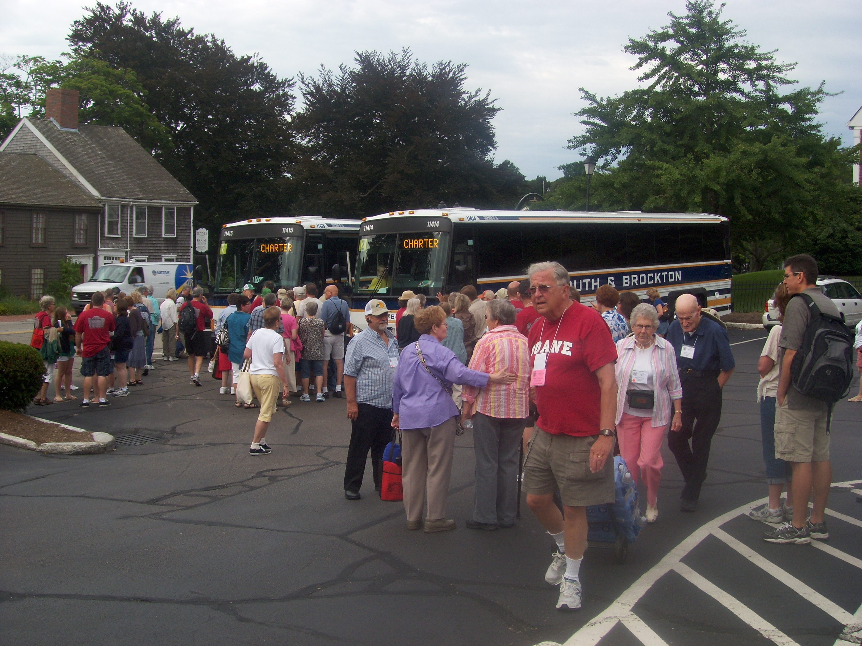 Boarding the busses for trip to Provincetown